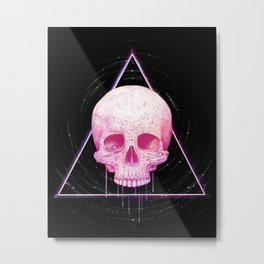 Skull in triangle on black Metal Print