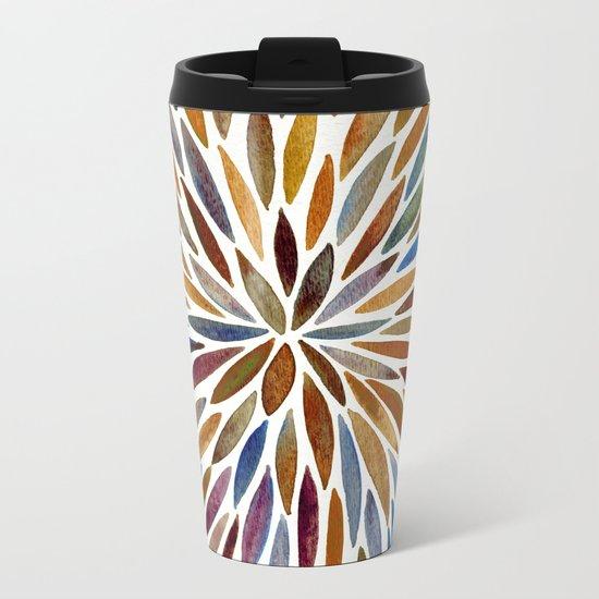 Watercolor Burst – Retro Palette Metal Travel Mug