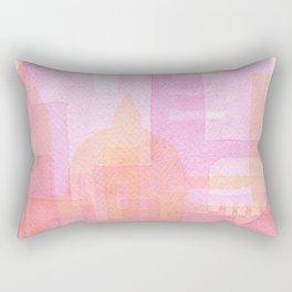 Pink and golden city watercolor Rectangular Pillow