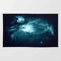 nebula Area & Throw Rugs featuring Orion nebula : Teal Galaxy by 2sweet4words Designs