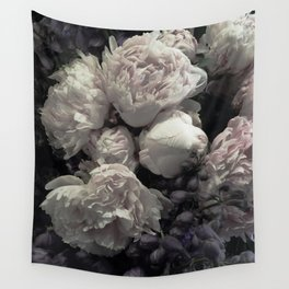 Peonies pale pink and white floral bunch Wall Tapestry