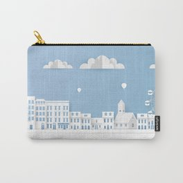 Origami Style Illustration Paper Buildings. Paper Art Landscape, Urban Scene. Carry-All Pouch