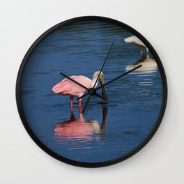 Roseate Spoonbill at Ding III Wall Clock