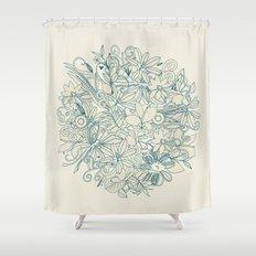 Denim flower circle Shower Curtain