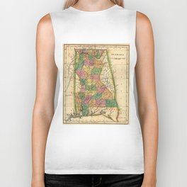 Vintage Map of Alabama (1822) Biker Tank