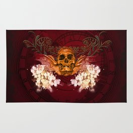 Amazing skull with flowers Rug
