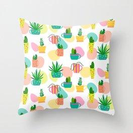 Pastel Cacti Throw Pillow