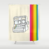polaroid Shower Curtains featuring Polaroid  by GetNaked