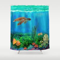UnderSea with Turtle Shower Curtain