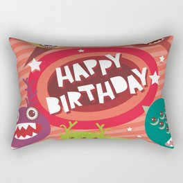 Happy birthday Funny monsters card Rectangular Pillow