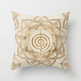 Cho Ku Rei - pastel gold lotus mandala Throw Pillow