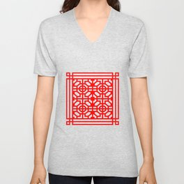 PATTERN ART05-1-Red Unisex V-Neck