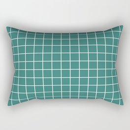 Myrtle green - green color - White Lines Grid Pattern Rectangular Pillow