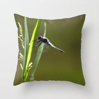 dragonfly Throw Pillows featuring Dragonfly by Christina Rollo