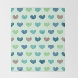 Colorful Cute Hearts V Throw Blanket