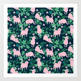 Sweet pink cats in greens illustration pattern. Art Print