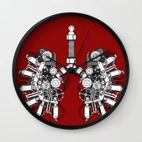 lungs Wall Clocks featuring lungs by khet13