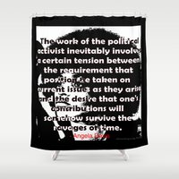 political Shower Curtains featuring Angela Davis - The Political Activist by AfrocentriqueAZ