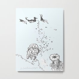 Two Tailed Duck and Jellyfish Pale Blue Metal Print
