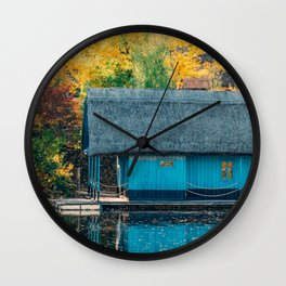 Lake House, Home Sweet Home, Fall Landscape, Lonely Home, Colorful Trees, Autumn Season, Wall Art Wall Clock