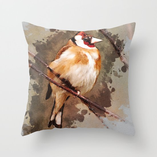 Red Bird Throw Pillow : Orange and red bird on the branch Throw Pillow by Jablam Society6