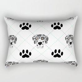 Merle Great Dane Paw Print Pattern Rectangular Pillow