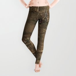 Textured Bronze Gold Metal Painting on Canvas Leggings