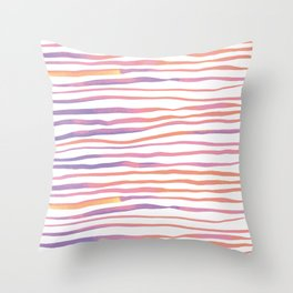 Irregular watercolor lines - pastel pink and ultraviolet Throw Pillow