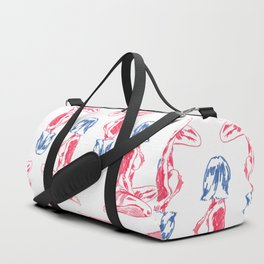 Fabulous Lady in Pink and Blue Duffle Bag
