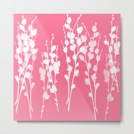 Big Azalea Pink Pussywillow Silhouettes Metal Print