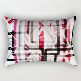 Red Black White Abstract Drawing Rectangular Pillow