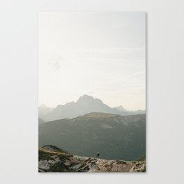 On top of the world Photography | Dolomites, Italy - Hiking road sunset pastel art print Canvas Print