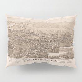 Ticonderoga Map 1884 (Sepia) Pillow Sham