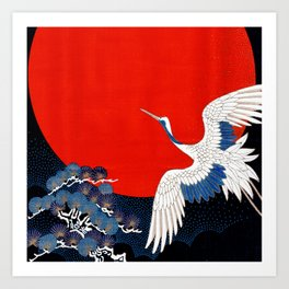 JAPANESE POP ICON- WHITE CRANE Art Print