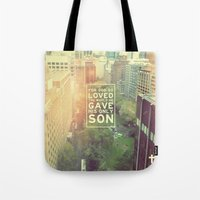 "pocketfuel Tote Bags featuring John 3:16 ""For God so loved the world"" (Version 2) by Pocket Fuel"