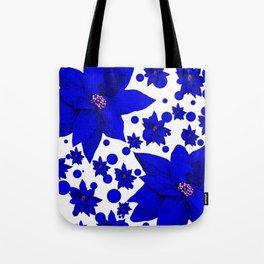 Poinsettia Blue Indigo Pattern Tote Bag