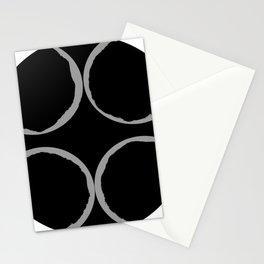 Grey Circles Circling A Midnight Circle Stationery Cards