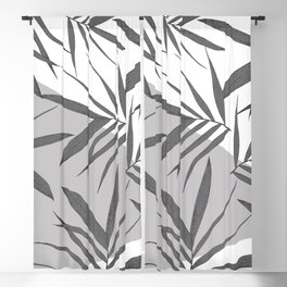 White grey leaves collage 1 Blackout Curtain
