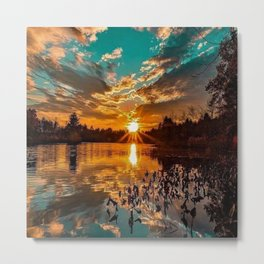 Sunset over Moswansicut Pond, North Scituate, Rhode Island Metal Print