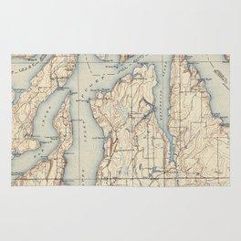 Vintage Map of The Puget Sound (1934) Rug