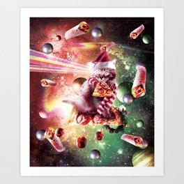 Christmas Space Cat Eating Pizza - Laser Eyes Art Print