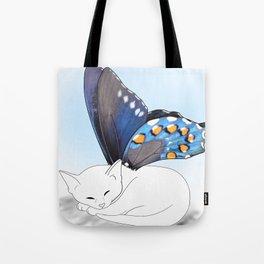White Kitten Fairy Tote Bag