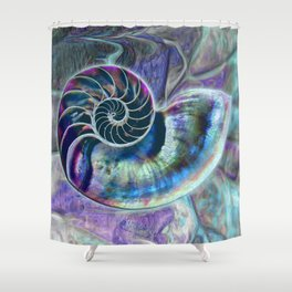 Iridescent Shell Snail Fossil Shower Curtain