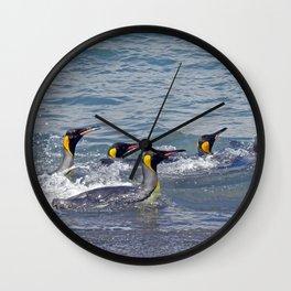 Swimming King Penguins Wall Clock