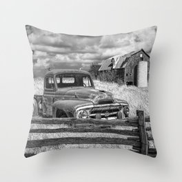 Black and White of Rusted International Harvester Pickup Truck behind wooden fence with Red Barn in Throw Pillow