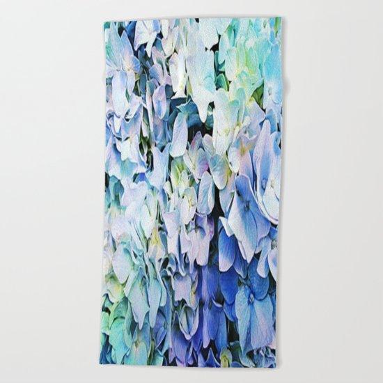 Soft Tri-Color Pastel Hydrangea Beach Towel