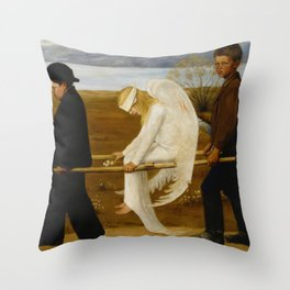 1903 Classical Masterpiece 'The Wounded Angel' by Hugo Simberg Throw Pillow