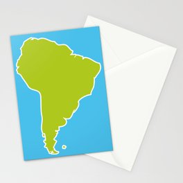 South America map blue ocean and green continent. Vector illustration Stationery Cards