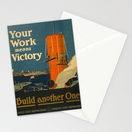 Vintage poster - Your Work Means Victory Stationery Cards