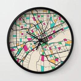 Colorful City Maps: Detroit, Michigan Wall Clock